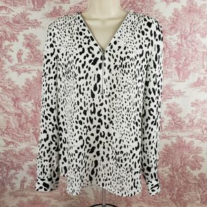 INC Animal Print Top Blouse Womens 10